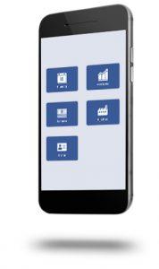 Mobiele telefoon met de app van rijschool Brünen